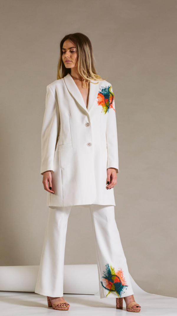 Hand-painted white woman suit- Golden ratio collection 2