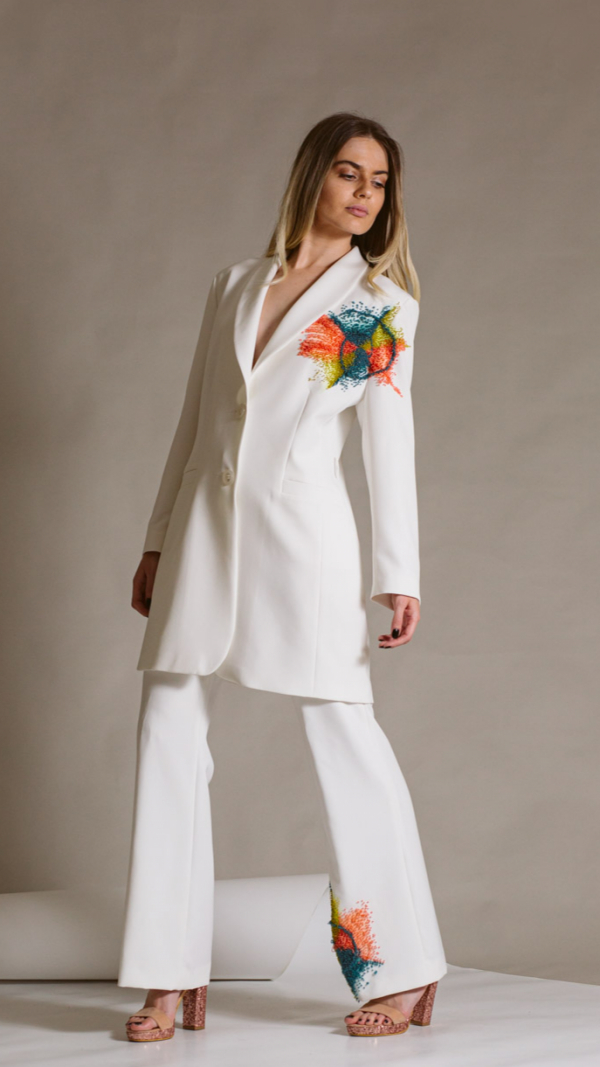 Hand-painted white woman suit- Golden ratio collection 1