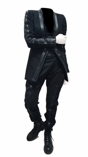 Women's black pants with leather details 2