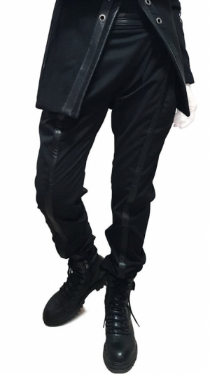 Women's black pants with leather details 1