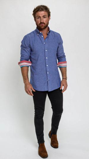 Navy Cotton Kikoy Shirt 2