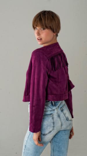 Women's Fringed Short Suede Jacket in Boho Style 2