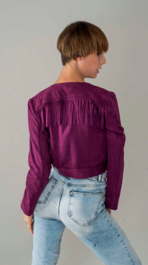 Women's Fringed Short Suede Jacket in Boho Style 1