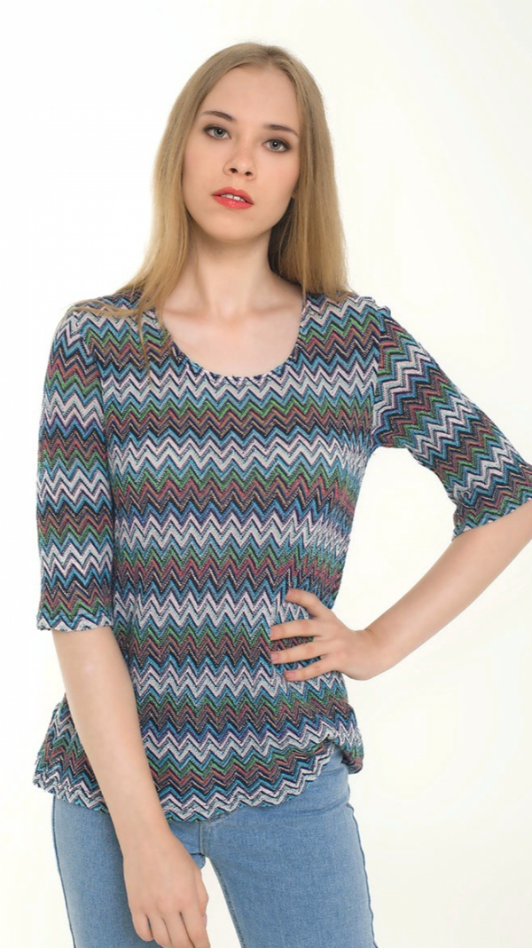 Multicolor Knitted Sweater With 3/4 sleeves 1