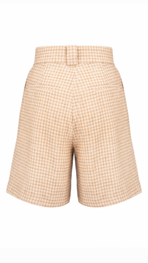 CAMÉLLE high-waist pleated houndstooth-check shorts 2