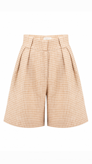 CAMÉLLE high-waist pleated houndstooth-check shorts 1