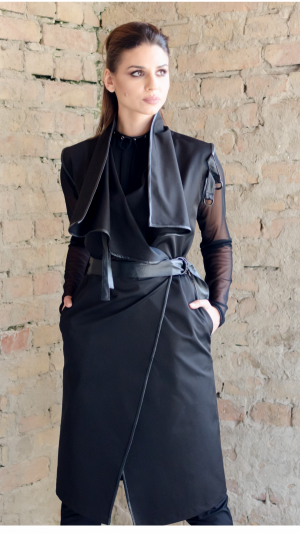 Women's dress / coat with leather details, for all seasons. 2