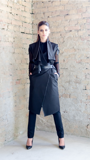 Women's dress / coat with leather details, for all seasons. 1