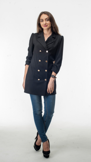 Black Cotton Blazer Dress With Gold Buttons 2