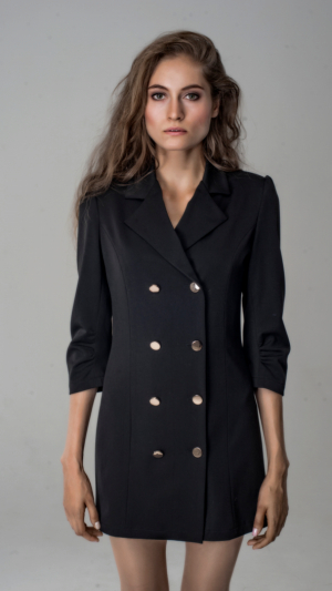 Black Cotton Blazer Dress With Gold Buttons 1