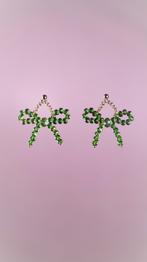 Green Bow Earrings