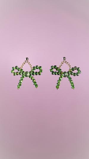 Green Bow Earrings 1