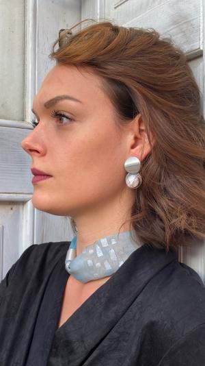 Beige -  light blue jewelry set 1