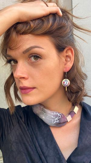 Gray - bordeaux jewelry set 1