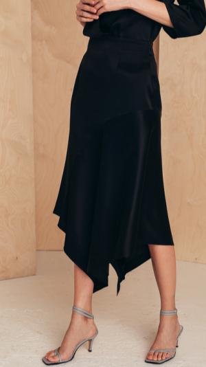 Silk Skirt With Asymmetric Hem 1