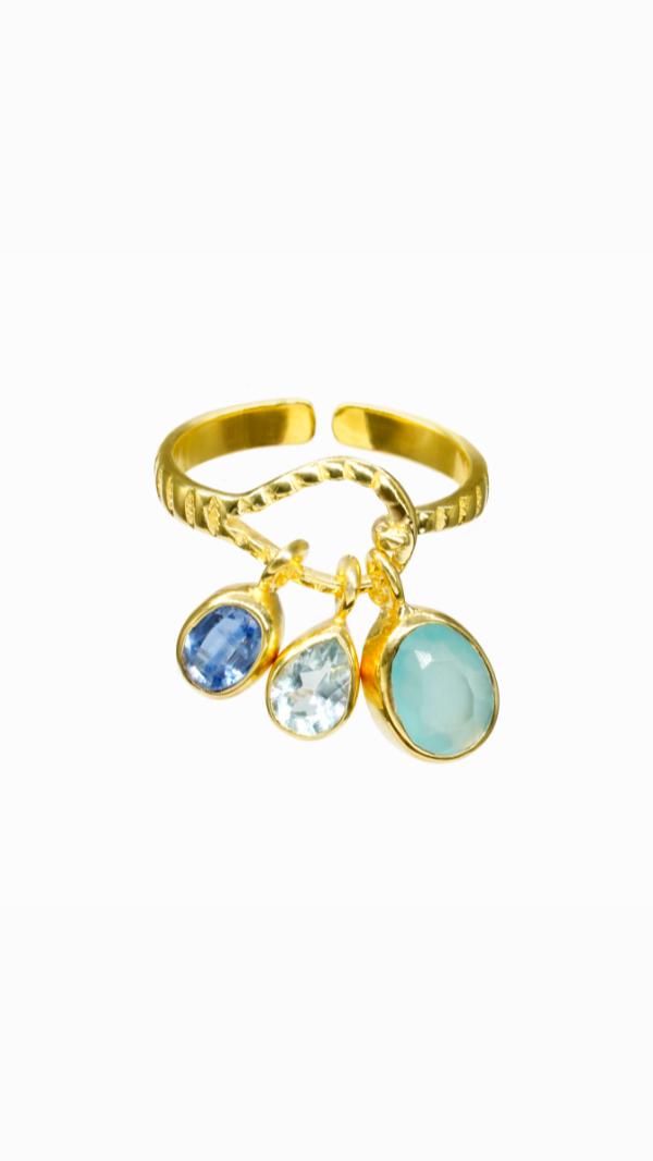 18kt Gold Aquamarine, Tanzanite, Chalcedony Ring 1